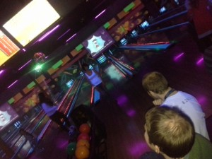 Cosmic Bowling!  Sammie is a little dejected after that last shot...